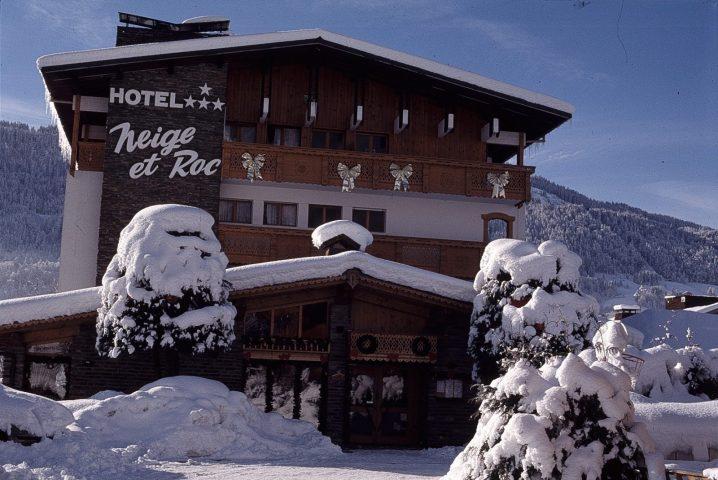 Hotel facade in winter