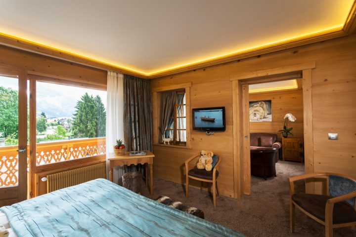 Bedroom and living room luxury suite